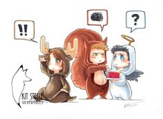 Moose and Squirrel and Feathers by Kit Steele - Yay Supernatural! (I love that Cas has pie for Dean! Ha!)