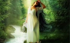 waterfall trees - Fantasy pictures and fantasy images