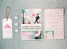 teal pink invitations