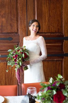 Absolutely captivating bridal portrait complete with a cascading bouquet perfect for fall! | Flowers by Andrea Layne Floral Design | Photography by Jillian Joseph Photography