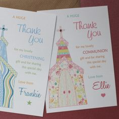 Whimsy Church - Pack of 10 Thank You Cards for Christening, Baptism, Communion £7.50