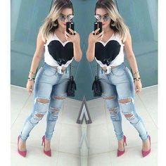 Look Perfeito, Inspiração Fashion, Meninas, Feminino, Skinny Jeans Rasgado,  Coração Preto 93e3e000af