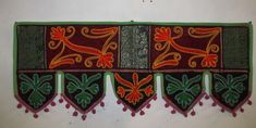 VINTAGE EMBROIDERY DOOR DECOR HANGING INDIAN COTTON WINDOW VALANCE TOPPER VR38 #Handmade