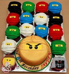 Ninjago Cupcakes und Kuchen Ninjago cupcakes and cakes # Children's birthday Cupcakes Ninja, Ninjago Cupcakes, Bolo Ninjago, Lego Ninjago Cake, Ninja Cake, Ninjago Party, Cake Minion, Ninjago Cole, Ninjago Kai