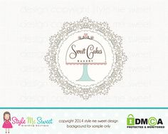 Bakery Logo Design  Custom Cake Stand by stylemesweetdesign