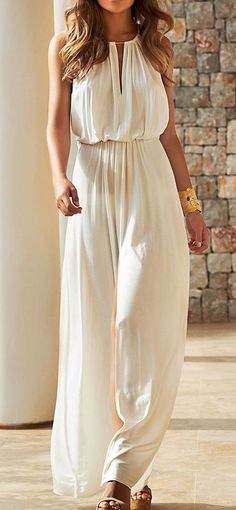White Plain Cut Out Pleated Chiffon Maxi Dress