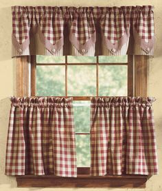 """Park Designs """"York"""" Country Cottage Wine and Tan Check Curtain Tiers 72"""" x 36"""" 
