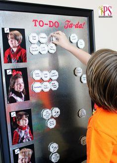 Framed Magnetic Chore Chart with Ceramic Tile Magnets + Chore Chart Tips Video #backtoschool #diy #dihworkshop