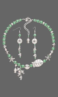 """Single-Strand Necklace and Earring Set with Czech Glass Beads, Silver-Plated """"Pewter"""" Beads and Hill Tribes Antiqued Silver-Plated Beads"""