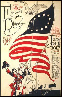 vintage american flag images | Vintage Flag Day Poster