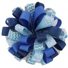 Loopy Puff Hair Bow Blue Mix
