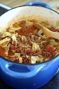 Do you like stuffed cabbage rolls but not the work and mess? Unstuffed Cabbage Soup is super easy and has all of the tastes you love. It is delicious! Serve a piping hot bowlful with cornbread if you would like. Cabbage And Beef, Cabbage Soup Recipes, Cabbage Hamburger Soup Recipe, Cabbage Potato Soup, Hamburger Casserole, Onion Soup, Potato Recipes, Bread Recipes, Unstuffed Cabbage Soup