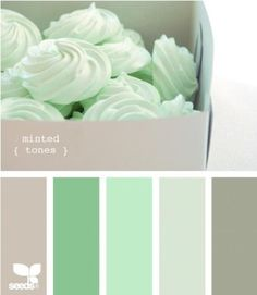 minty palette via design seeds Color Menta, Mint Color, Mint Green, Gray Color, Cream Colour, Colour Schemes, Color Combos, Colour Palettes, Grey Bedroom Colors