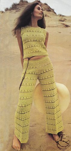PDF crochet top and slacks trousers pants vintage crochet pattern pdf INSTANT…