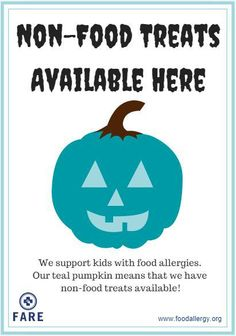 This Halloween, FARE is encouraging food allergy families to start a new tradition: painting a pumpkin teal and placing it on your porch as a sign to other families managing food allergies that you have non-food treats available at your home. Your teal pumpkin is also a way to raise awareness in your neighborhood about food allergies! #TealPumpkinProject
