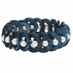 Navy Tinted Mother of Pearl Stretch Bracelet