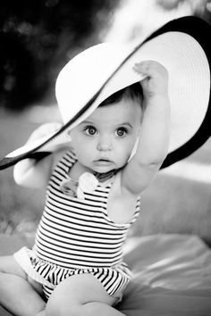 adorable! baby in a hat, black and white