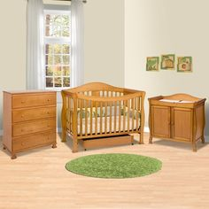 DaVinci 3 Piece Nursery Set   Parker 4 In 1 Convertible Crib With Toddler  Rail, 2 Door Changing Table And 4 Drawer Dresser   Oak