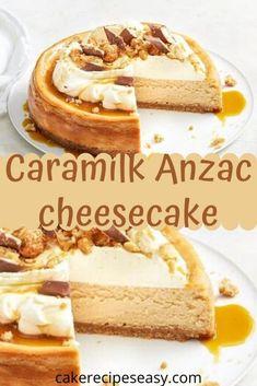 A dessert match made in heaven: Caramilk, Anzac biscuits and creamy, creamy cheesecake. Cream Cheese Recipes, Milk Recipes, Easy Cake Recipes, Sweet Recipes, Baking Recipes, Dessert Recipes, Cheesecake Cake, Cheesecake Recipes, Thermomix Cheesecake