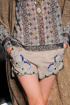 Anna Sui Spring 2014 RTW - embroidered shorts.