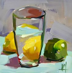 """Daily Paintworks - """"Lemon and Lime Water Still Life Painting"""" - Original Fine Art for Sale - © Angela Moulton"""