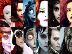 The many faces of Johnny Depp and Helena Bonham Carter… I love how their like never normal people