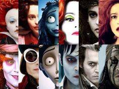 The many faces of Johnny Depp and Helena Bonham Carter…
