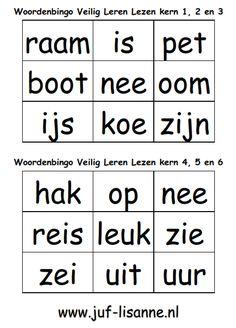 www.juf-lisanne.nl Woordbingo bij kern 1 t/m 6 van Veilig Leren Lezen.