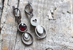 Art Deco Earrings, Small Earrings, Pink Earrings, Art Deco Jewelry, Stone Earrings, Garnet Jewelry, Heart Jewelry, Tourmaline Jewelry, Black Rings