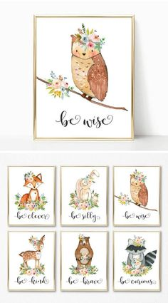 Love this cute woodland animals set for a nursery. It is so sweet and would make a lovely addition to any baby's room. Be clever, silly, wise, kind, brave, and curious #woodland #nursery #ad