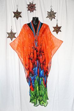 Fire and Feathers Pure Silk Ciffon Full Length by MollyKaftans, $179.00