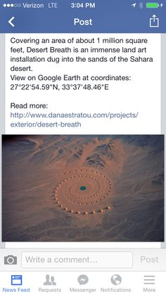 Very old 1 million square feet place called Desert Breath in the Sahara Desert.  Made by aliens?