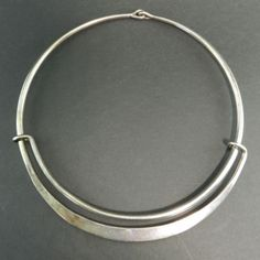 Modernist-Hans-Hansen-Denmark-Sterling-Silver-Cuff-Necklace