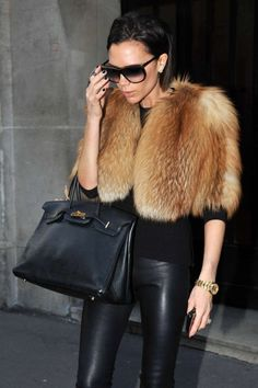 VICTORIA BECKHAM - my vest would be faux fur of course, no dead animals for me