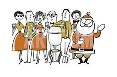 Santa Claus at the Water Cooler with Colleagues Print by Pop Ink - CSA Images at Art.com