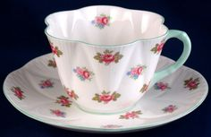 Shelley Rosebud Fine Bone China. My hand-me-down set from Trey's grandmother. Love it. Need to have a tea party...SOON!
