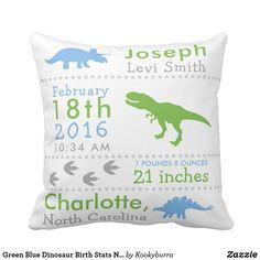 Green Blue Dinosaur Birth Stats Nursery Pillow - DINOSAUR NURSERY DECOR - DINOSAUR BABY SHOWER GIFT - DINOSAUR NURSERY - Dempsey Dino