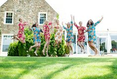 Bridesmaids jump for joy! | Heartfelt Country Club Wedding with Old-World Charm