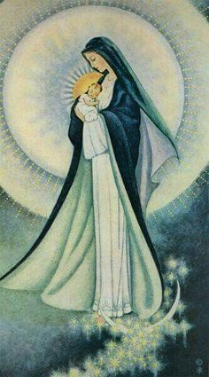 Mother of Light - Sr. Marie Pierre Semler, Mother Mary with Jesus Divine Mother, Blessed Mother Mary, Blessed Virgin Mary, Virgin Mary Art, Jesus Mother, Mother Goddess, Religious Images, Religious Icons, Religious Art