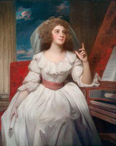 1787-1788 George Romney - Mrs. Billington as Saint Cecilia. Robe a la chemise-- seated