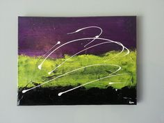 "Modern Abstract Painting Art Canvas Yellow Purple 12""x16"" Toile Moderne/Abstrait #Abstrait"