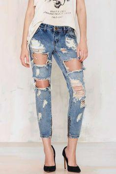 One Teaspoon Trashed Freebird Jeans