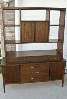 Mid century modern Broyhill room divider 2 piece wall unit, china cabinet hutch #BroyhillFurniture