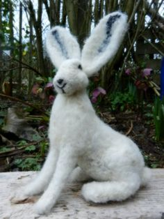 Needle Felted White Hare by WildernessFelt on Etsy, £45.00