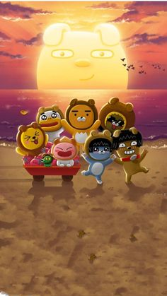 Ryan Bear, Kakao Ryan, Apeach Kakao, Kakao Friends, Cartoon Painting, Friends Wallpaper, Line Friends, Kawaii Drawings, Cellphone Wallpaper