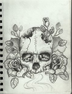 rose skull tattoos | Tumblr