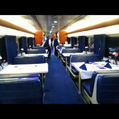 Dining Car aboard Amtrak Empire Builder , Seattle - Chicago All Aboard !!!