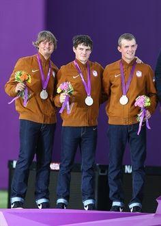 Archery silver medalists Brady Ellison, Jake Kaminski and Jacob Wukie of the United States