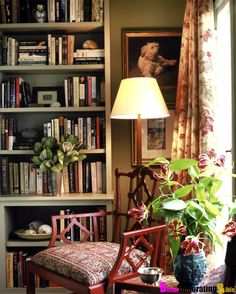 how to decorate a bookcase in a living room | Olive Green Bohemian Living Room and Library | BetterDecoratingBible More
