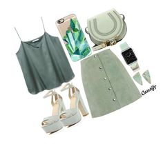 """""""Eat your Greens"""" by casetify ❤ liked on Polyvore featuring Topshop, River Island, Casetify, Melissa Joy Manning, Chloé, fashionset and greens"""